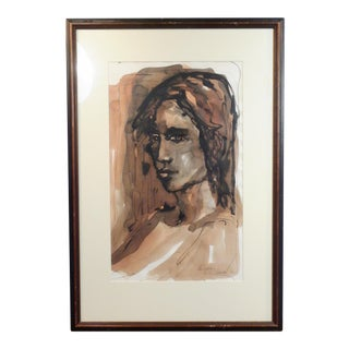 Vintage Watercolor Female Painting