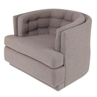 1970S TUFTED BARREL SWIVEL LOUNGE CHAIR