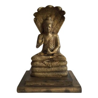 "Mid Century Modern Brass Buddha Sculpture 13"" Naga Buddha Burmese Cobra Statue"