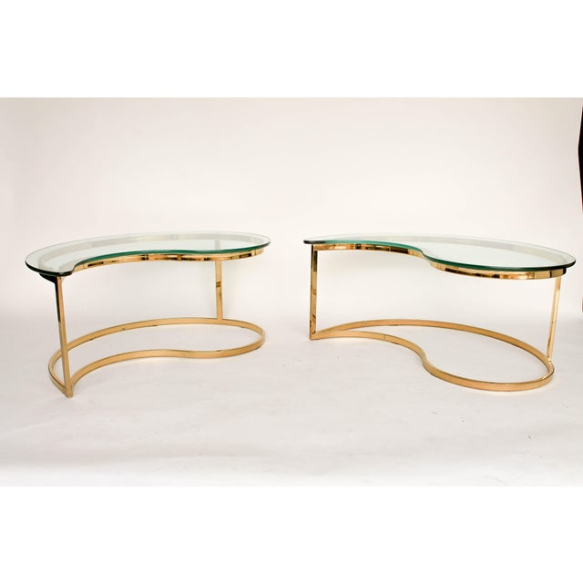 Yin Yang Brass & Glass Side Tables - A Pair - Image 4 of 7