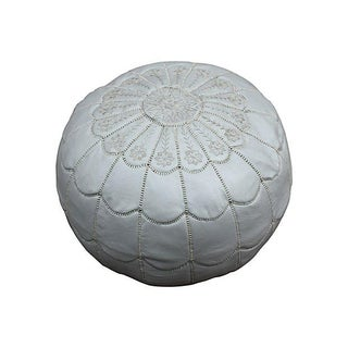 Moroccan Embroidered Silver Pouf