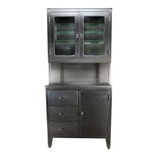 Vintage Stainless Steel Cupboard Industrial Medical Step Back Cabinet
