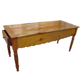 Antique Fruitwood Gibier Table with Side Drawers
