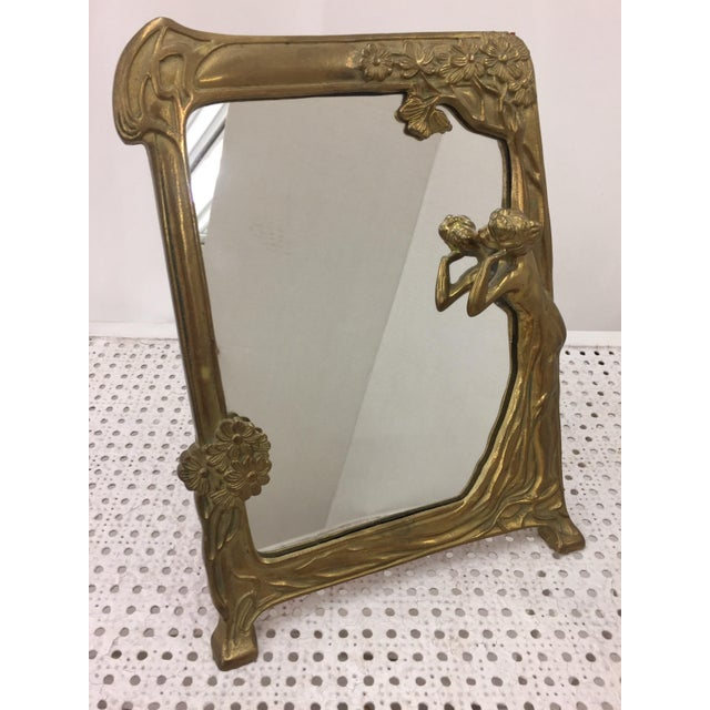 "Image of Art Nouveau Brass Mirror "" Lady by the Lake """