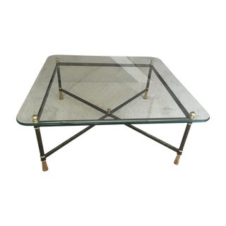 Vintage Italian Metal and Glass Coffee Table