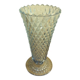 Indiana Glass Blue Diamond Point Footed Vase