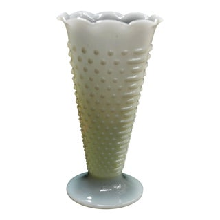 Vintage Anchor Hocking Hobnail Milk Glass Vase