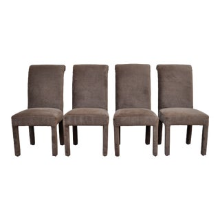 Green Velvet Parsons Chairs - set of four