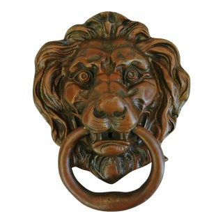 English Brass Lion Door Knocker