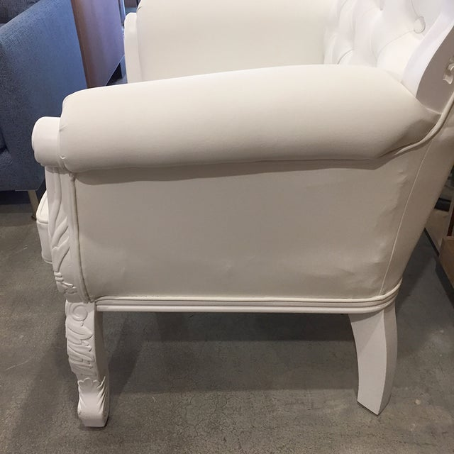 White Rococo Wingback Chairs - A Pair - Image 9 of 11