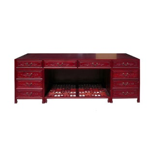 Long Rosewood Oriental Motif Office Desk/Table