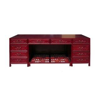 Long Rosewood Oriental Motif Office Desk/Table