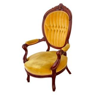 Vintage Yellow Velvet Upholstered Chair
