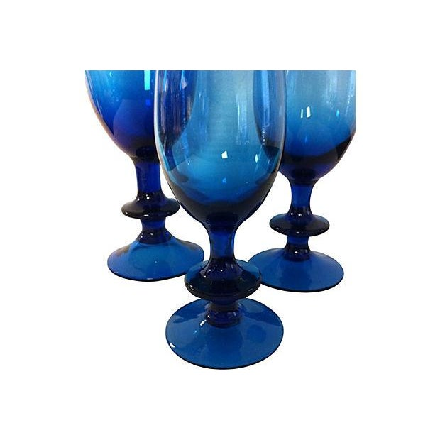 Image of Carlo Moretti Blue Glass Goblets - Set of 3