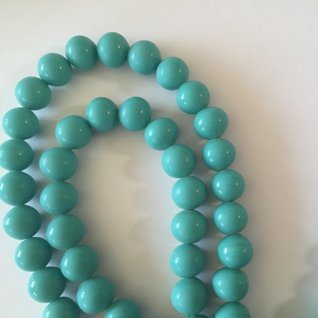 Image of Vintage 12mm Glass Turquoise Bead Necklace