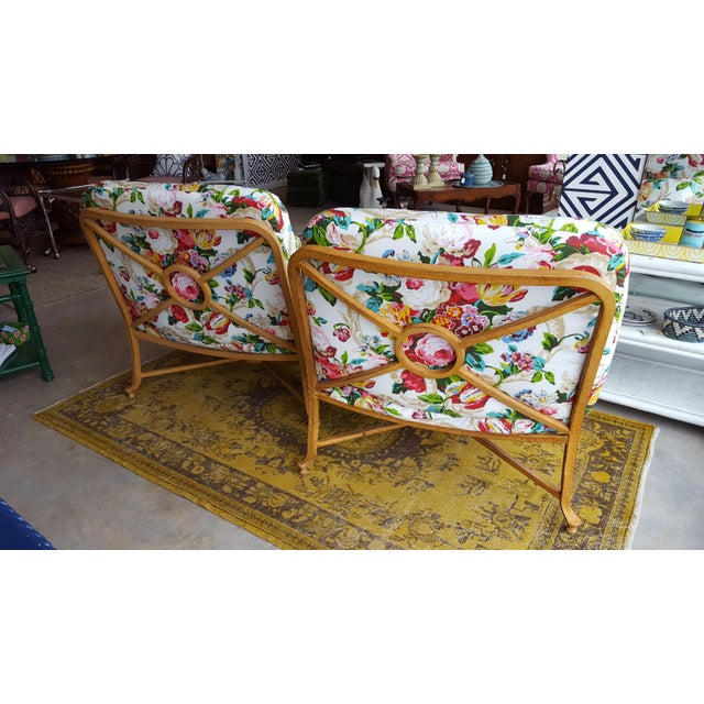 Floral Chairs with Iron Bases - A Pair - Image 3 of 5