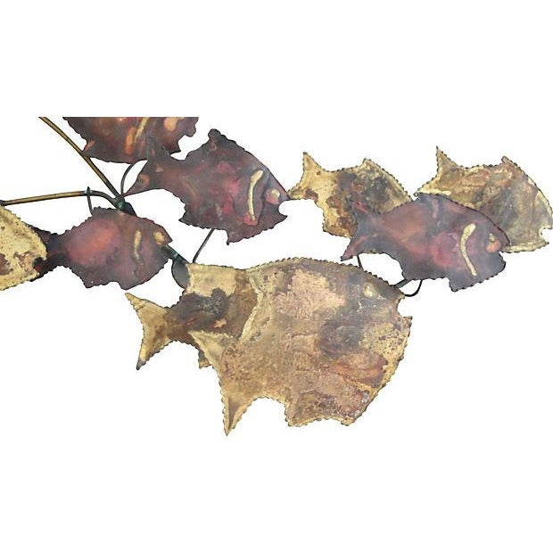 Image of Metal Wall Art Sculpture - 16 Swimming Fish