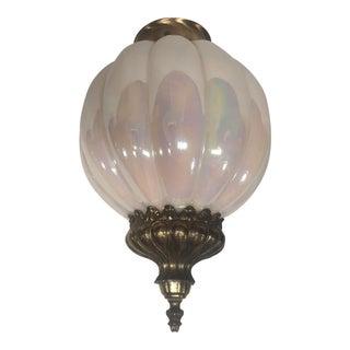 Iridescent Glass Globe Brass Ceiling Fixture