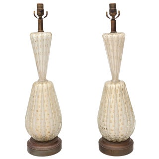 Pair of Barovier & Toso Bubble Lamps