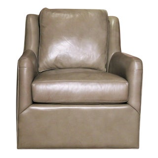 Vanguard Fisher Pewter Leather Swivel Chair