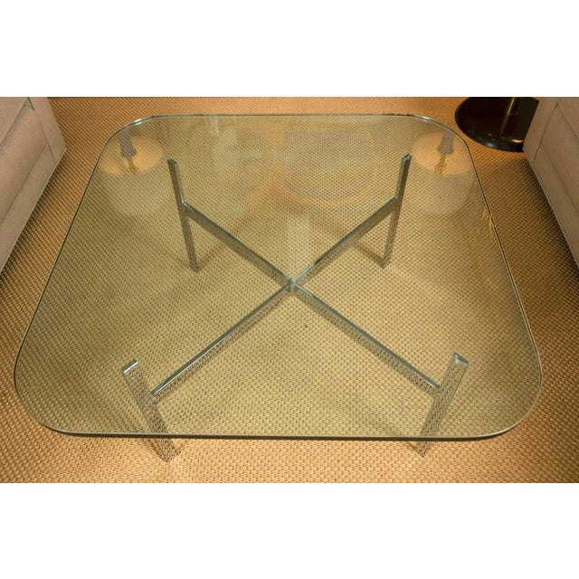 Mid-Century Steel X Base Cocktail Table - Image 6 of 9