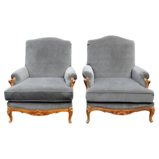 Oversized Carved Walnut Lounge Chairs - A Pair