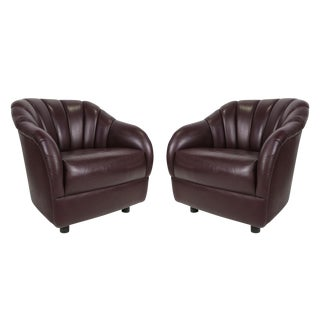 Pair of Leather Club Chairs by Ward Bennett for Brickel
