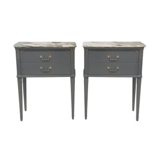 Marble Top Nightstands - A Pair