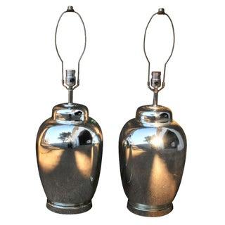 Regency Mercury Glass Ginger Jar Lamps - A Pair