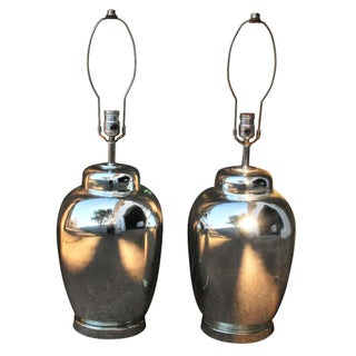 Regency Mercury Glass Ginger Jar Lamps - A Pair