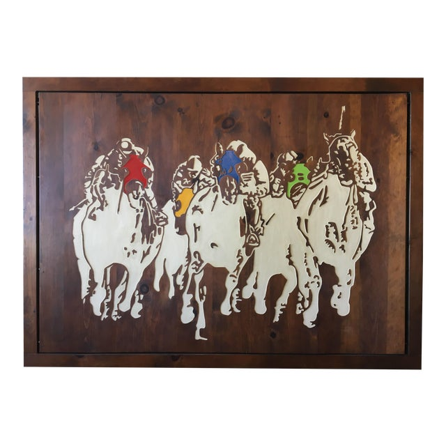 Horse Racing Carved Art by Ken Daddario - Image 1 of 8
