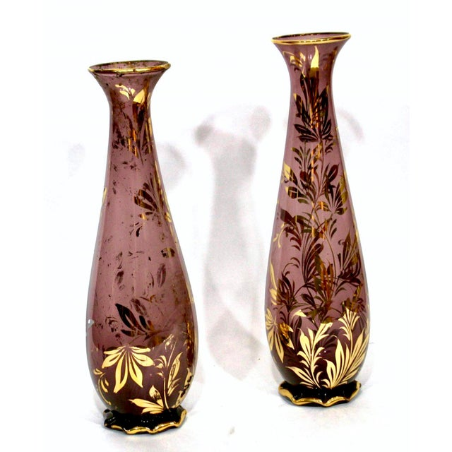 Monumental Murano Mid-Century Purple Vases With Gilt Foliate Design - a Pair - Image 2 of 4