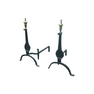 1900'S Cast Iron and Bronze Andirons by Cahill