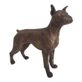 Brass Boxer Dog Statue