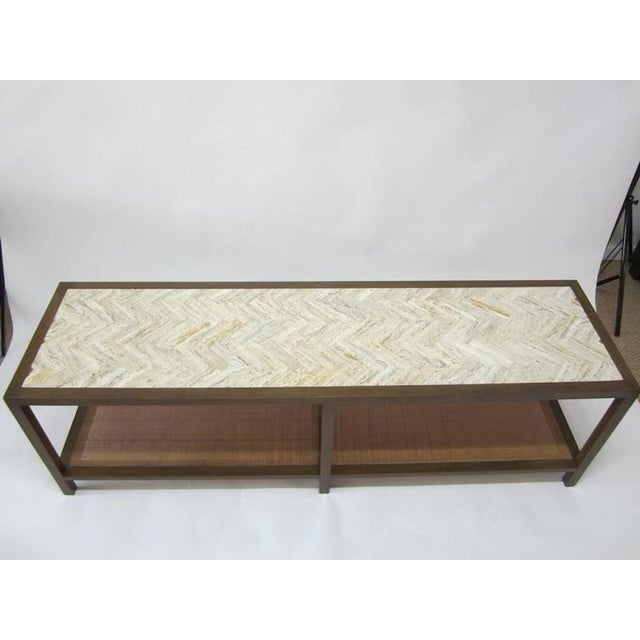 Harvey probber travertine and cane cocktail table bench for Cocktail table with 4 benches