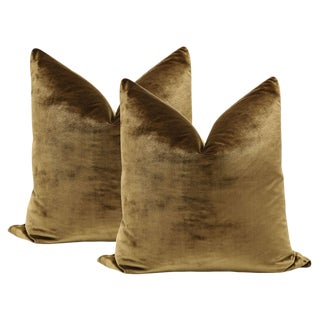 "22"" Italian Silk Velvet Pillows In Mahogany - A Pair"