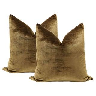 "22"" Mahogany Italian Silk Velvet Pillows - a Pair"
