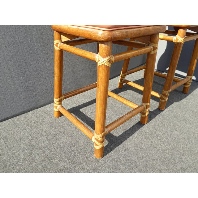 McGuire Bamboo Barstools with Laced Rawhide - Set of 3 - Image 11 of 11