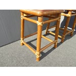 Image of McGuire Bamboo Barstools with Laced Rawhide - Set of 3