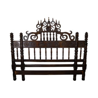 Vintage Middle Eastern Carved King Size Headboard