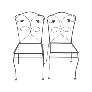 Wrought Iron Side Chairs Frames - Pair