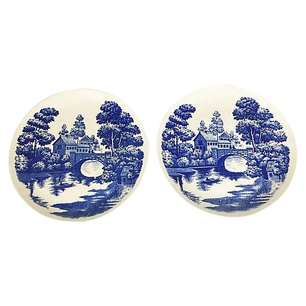 Hand-Painted Nasco Blue & White Plates - Pair - Image 1 of 4