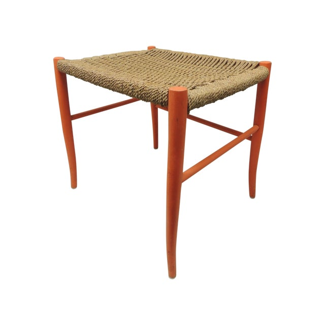Mid Century Modern Orange Bench With Rush Seat - Image 1 of 4
