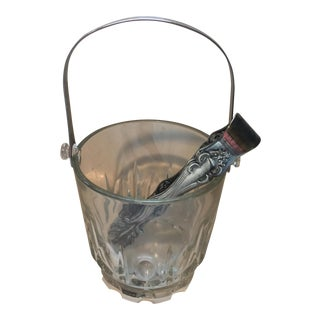 Italian Crystal & Silver Ice Bucket