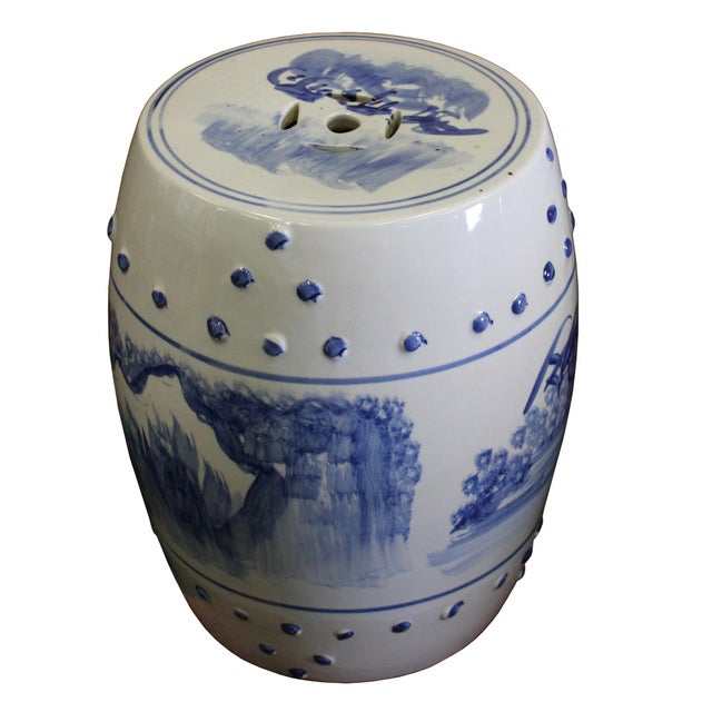 Chinese Blue & White Porcelain Scenery Round Stool Table - Image 6 of 7