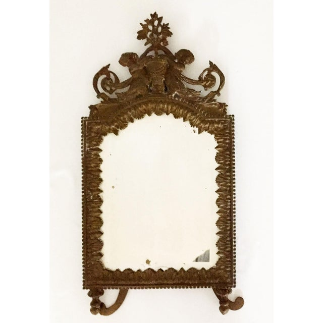 Antique Brass Cherub Table Top Easel Back Mirror - Image 5 of 5