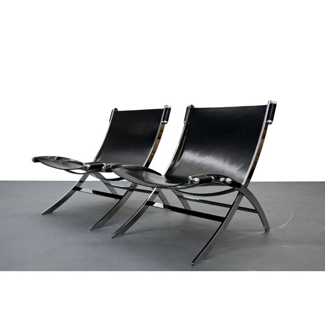 Italian Chrome & Leather Sling Scissor Chairs - A Pair - Image 2 of 8