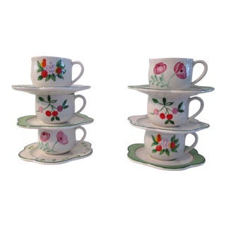 Italian Hand-Painted Cups & Saucers - 12 Pcs