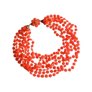 Citrus Orange 8-Strand Plastic Necklace 1960s
