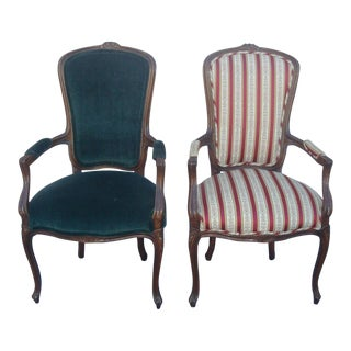 Trouvailes French Provincial Arm Chairs - A Pair